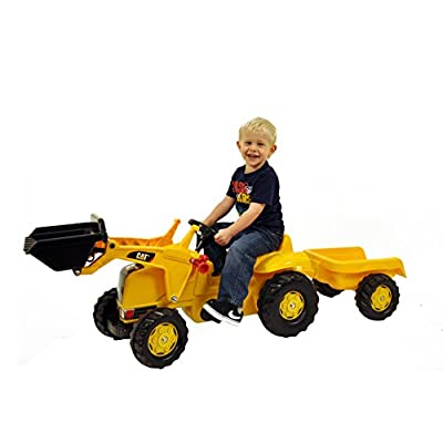 rolly toys CAT Construction Pedal Tractor: Front Loader Tractor with Detachable Trailer, Youth Ages 2.5+: Toys & Games
