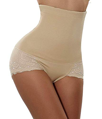 Women Waist Trainers Lace Mesh Butt Lift Panties Shaper Brief Seamless High Waist Beautiful Curves Underwear (Beige, - Brief Lace Shaping