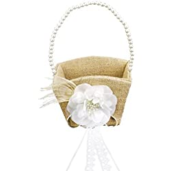 ULTNICE Wedding Flower Girl Basket with White Pearl Ribbon Flower