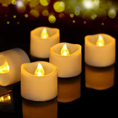 Beichi 24 Pack Flameless LED Tea Lights, Battery Operated Candles for Festival Celebration & Decoration, Flickering Tealight Candles with Melted Edge and Warm Yellow Light]()