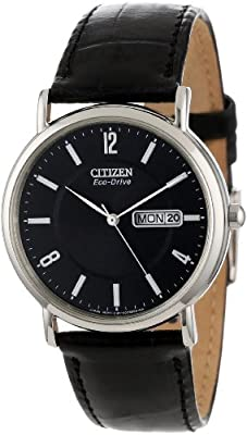 "Citizen Men's BM8240-03E ""Eco-Drive"" Stainless Steel and Black Leather Watch by Citizen"