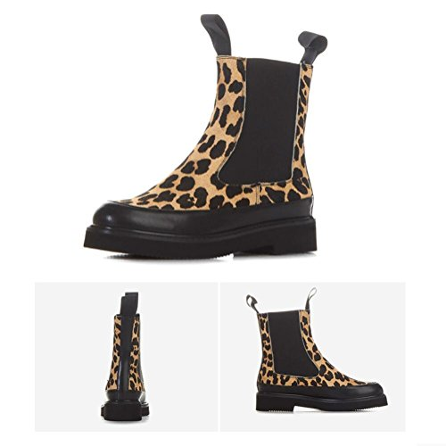 Sko Ermet Kvinners Martin Rundt Pluss Picturecolor Flate Fleece Leopard Sokker 38 Boots CwqtXR
