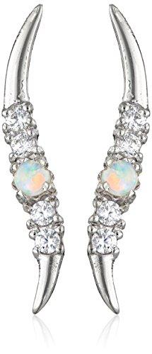 Cubic Zirconia Ear Pins - The Ear Pin Opal Accented by Cubic Zirconia Graceful Sterling Silver Earrings