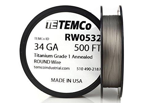 TEMCo Titanium Wire 34 Gauge 500 FT Surgical Grade 1 Resistance AWG ga