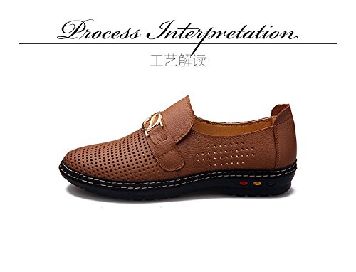 Gaorui Men's Hollow Out Faux Leather Shoes Summer Breathable Slip On Loafers Driving Shoes Comfortable Flat Sandals Boat Shoes Black SplKeMPZ
