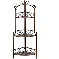 Kitchen Bakers Rack, Rustic Corner Storage Shelf Modern 3-tier Metal Bakers Rack