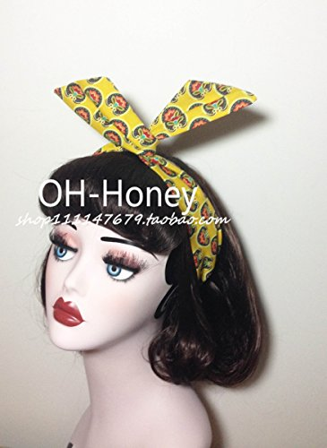- usongs style retro imported original homemade yellow background totem printing wire rabbit ears butterfly knot hair band