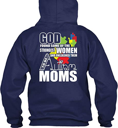 TIGER-KEY Cool-God Found Some of The Strongest Women T Shirt, Unleashed Them Autism Moms T Shirt Hoodie (S,Navy)