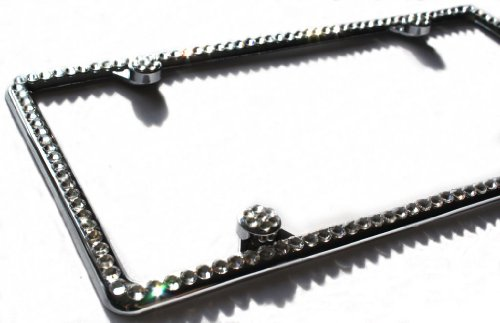Hotblings 1 Row CLEAR CRYSTAL on METAL made w/SWAROVSKI Elements Bling License Plate Frame & 4 Caps