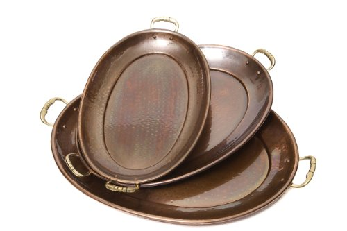 (Old Dutch Decor Antique Copper Oval Tray, 17-Inch by 13-Inch, 15-Inch by 11-Inch and 13-1/4-Inch by 8-3/4-Inch, Set of 3)