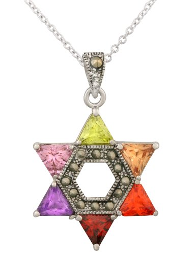 JanKuo Jewelry Rhodium Plated Multicolor CZ Jewish Star of David Pendant Necklace, 16