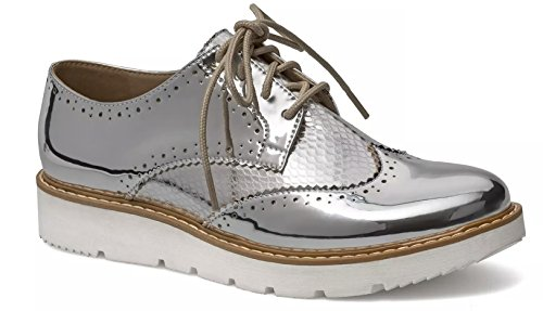 Casual Women Mirror Silver Oxford Platform Shoes 4vq64Wtcnx