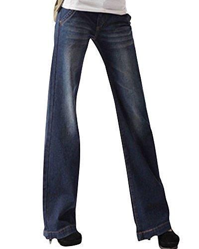 Pantaloni Alta Oversize Gamba Vita Bootcut Zampa Denim Larghi Jeans Blu Casuale A Donna Zhuikuna UqxAg1dU