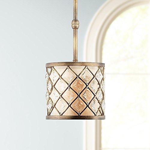 "Jeweled Golden Bronze 9"" Wide Mini Pendant Light"