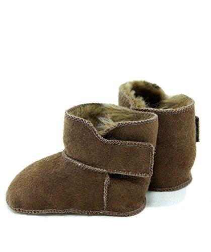 DX-Exclusive Wear Lammfellschuhe Babyschuhe, Stiefel, Klettverschluss, Echt Fell Schuhe Krabeln, Hausschuhe Baby ADB-0001 Madchen, Jungen, Leder (22/23, Braun)