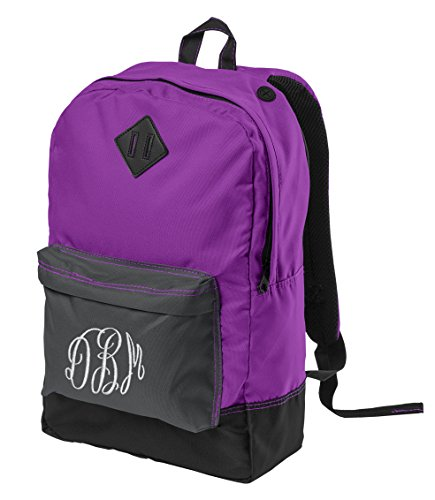 Personalized District Retro Backpack, Electric Purple with Embroidered Swirl Monogram ()