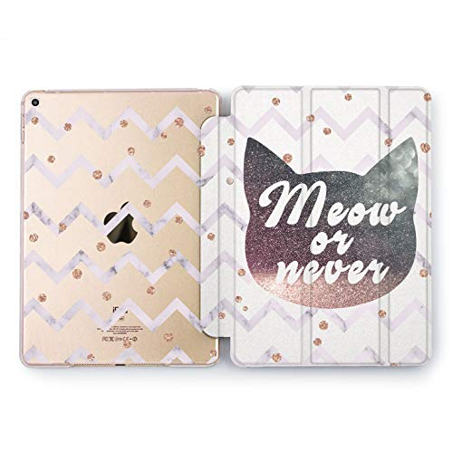 Wonder Wild Meow Or Never Print Case IPad 9.7 2017 A1822 A1823 2018 A1893 A1954 Air 2 A1566 A1567 6th Gen Clear Design Smart Hard Cover Skin Texture Stand Print -