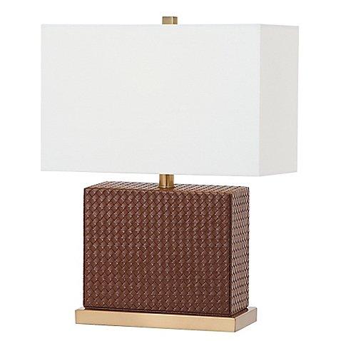 Safavieh Delia Faux Woven Leather Table Lamp in (Faux Wicker Lamp)