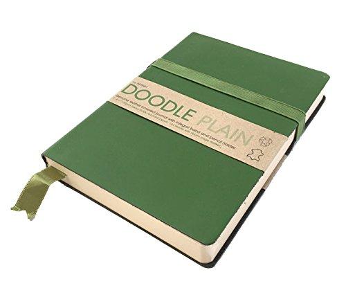 Artway Doodle - Tagebuch/Skizzenbuch - Zeichenpapier - Umschlag aus weichem Echtleder - 175 x 125 mm - 164 Blatt mit 150 g/m² - Avocado