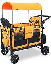 WONDERFOLD W4 Elite 4 Seater Multi-Function Quad Stroller Wagon with Adjustable Handlebar and Recline Seat (W4 Elite Sunset Orange)