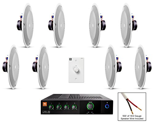 JBL 8138 In-Ceiling Loudspeaker Bundle with JBL CSMA 180 Mixer Amplifier and Accessories - Restaurant Sound System (27 Items) by JBL Professional