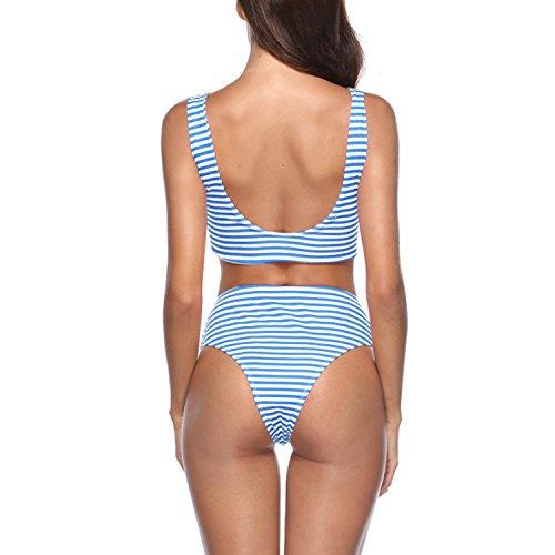 Beachwear Pezzi Strisce Up Sexy Bagno Due a Bikini Push Vita Blu Set JLTPH Imbottitura Bikini Da Alta Costumi Donne Swimwear qRntAWgcZ