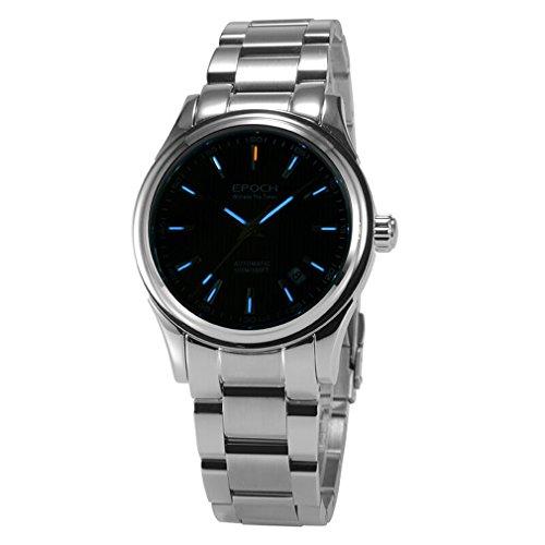 EPOCH 6029G tritium gas blue luminous steel strap black dial sapphire mirror mens business automatic mechanical wrist watch -  EPOCH 6029G O blue steel black
