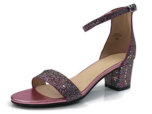 Bella Marie Classified Chunky Block Heel Dress Sandal Over Toe & Ankle Wrap Strap, Purple Glitter, 11