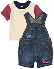 The Children's Place Boys' Dinosaur Denim Shortall with Dino