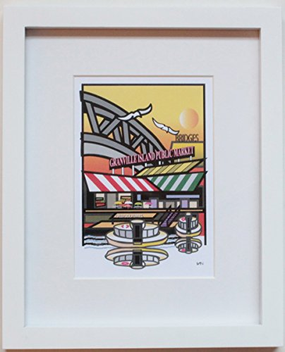 - Granville Island, Vancouver BC with Yellow Background, original framed art. 8x10inch white frame with mat. Hand signed by the artist. Also available with a blue background.