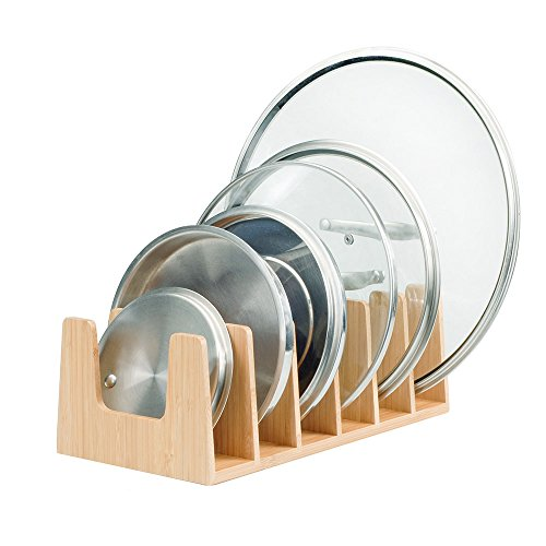 MobileVision Bamboo Pot Lid Holder Organizer for Storage in Cabinets or Kitchen Countertops and Cupboards (Pan Rack Lid)