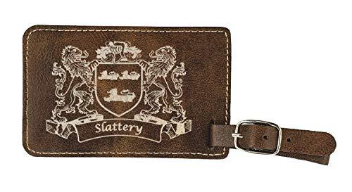 Slattery Irish Coat of Arms Luggage Tag(set of 2) - Rustic Leather