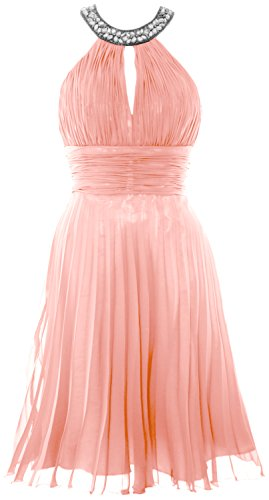 MACloth Women Halter Crystal Chiffon Short Evening Dress Cocktail Formal Gown Blush Pink