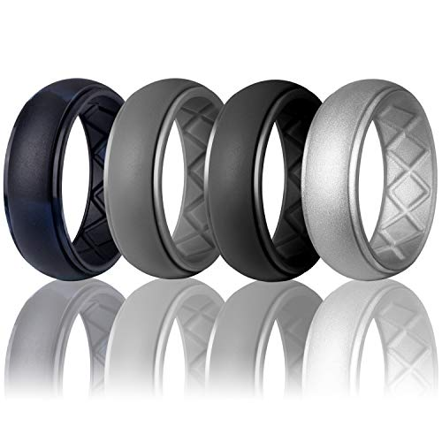 Egnaro Silicone Wedding Ring for Men, Particularly Breathable Mens' Rubber Wedding Bands, Size 8 9 10 11 12 13, for Athletes Crossfit Workout (Best Male Wedding Rings)