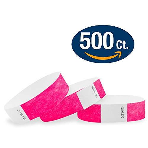 "WristCo Neon Pink 3/4"" Tyvek Wristbands - 500 Pack Paper Wri"