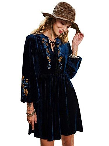 Embroidery Mini Dress (Bohoartist Autumn Royal Blue Long Sleeve Embroidery Lace up V Neck High Waisted Velvet Mini Dress)