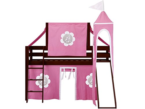 Jackpot Princess Low Loft Cherry Bed with Slide, Pink and White Tent and Tower