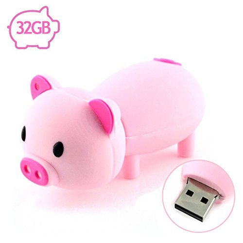 Flash Drive 32GB Pen Drive USB2.0 AreTop Cute Cartoon Miniature Pink Piggy Shape Memory Stick Swivel Thumb Drives for Date Storage Gift for School Students Kids Children Teacher Collegue Employees