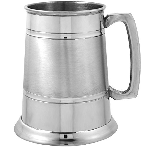 English Pewter Company 1 Pint Pewter Beer Mug Tankard with Elegant Satin Band [EP063]
