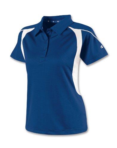 Champion Double Dry® Colorblock Women's Polo Shirt, XL-Athletic Royal/White