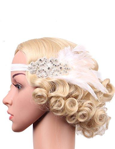 Flapper Girl Ostrich Feather Headpiece Wedding Headbands for Bride Crystal Headband Bling Flapper Headpiece 1920s (White) ()
