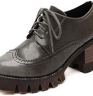 Njx/femme Chaussures Chunky Talon Bout Rond Oxfords décontracté Gris/bordeaux MJKIK