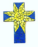 Mosaic Sun Wall Decor Cross, 9 inch X 6 inch, Yellow and Blue Stained glass with Grout