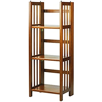 "Casual Home 3-Shelf Folding Bookcase (14"" Wide)-Honey Oak - Three (3) spacious shelves provide all the storage space you need Foldable design makes for effortless storage, transport, or rearrangement Four (4) durable legs provide balanced support for your belongings - living-room-furniture, living-room, bookcases-bookshelves - 417nTYnwawL. SS400  -"
