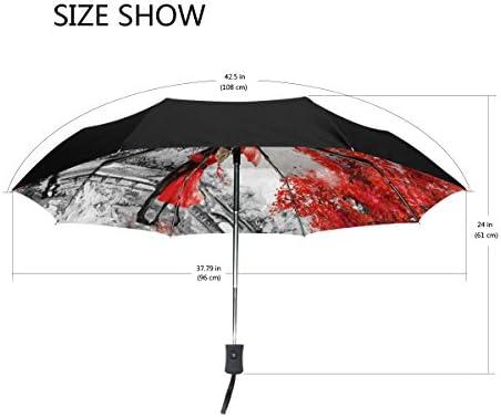 MyDaily Parapluie de Voyage pour Peinture /à lhuile Motif Tour Eiffel Paris Ouverture et Fermeture Automatique Protection UV Coupe-Vent
