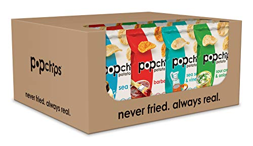 Popchips Potato Chips, Variety Pack, 24 Count (Single Serve 0.8 oz Bags), 4 Flavors: 8 Sea Salt, 8 BBQ, 4 Sour Cream & Onion, 4 Salt & Vinegar