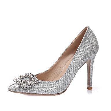 Zormey Women'S Heels Spring Summer Fall Winter Glitter Leatherette Wedding Party &Amp; Evening Dress Stiletto Heel Rhinestone Crystalgold White US6.5-7 / EU37 / UK4.5-5 / CN37