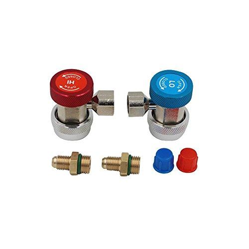 단순한 은색 - 가스 커넥터 - A C R134A 퀵 커플러 어댑터 자동 고..