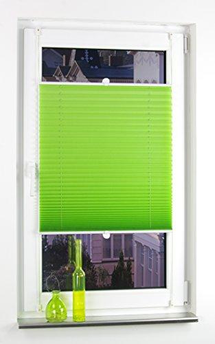 Liedeco® Plissee verspannt mit Klemmträger / 80 x 220 cm apple green (grün) (Breite x Höhe) / lichtdurchlässig blickdicht und stufenlos verstellbar / leichte Innen-Montage ohne Bohren / 123 montiert / Plissee farbig zum Klemmen fürs Fenster in vielen Farben und Größen / Klemmfix-Plissee als Sichtschutz Blendschutz Sonnenschutz und Fensterdekoration innen / Rollos Falt-Plissee Jalousien Zubehör von Liedeco