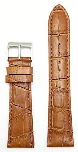 22mm Honey Brown Square Croco Grain, Lightly Padded